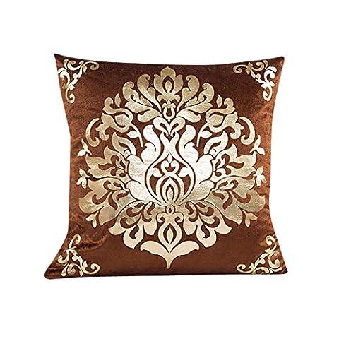 Taie d'oreiller Feuille d'or, Internet Canapé lit Home Café Decor Carré Housse de Coussin Polyester Invisible Fermeture à Glissière 45cm*45cm (W)