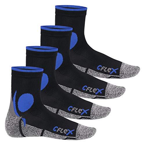 CFLEX Damen und Herren Running Funktions-Socken (4 Paar) Laufsocken - Schwarz-Blau 35-38