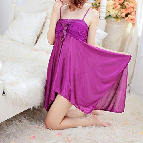 Femmes Sexy Lace Lingerie sans sur Bust Support Dress Pyjama Combinaison + T Noir G String (Violet)
