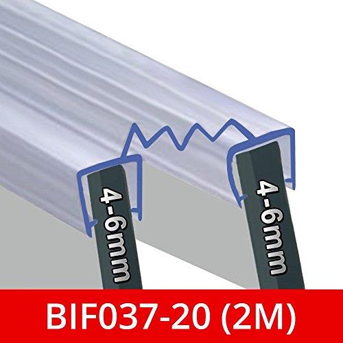 Schwenkbarer Doppel Dusche Glas oder Panel Dichtung | zusammenklappbar Mittelteil für die Verbindung Zwei Glas | passend für 4-6mm Glas | bif037 -