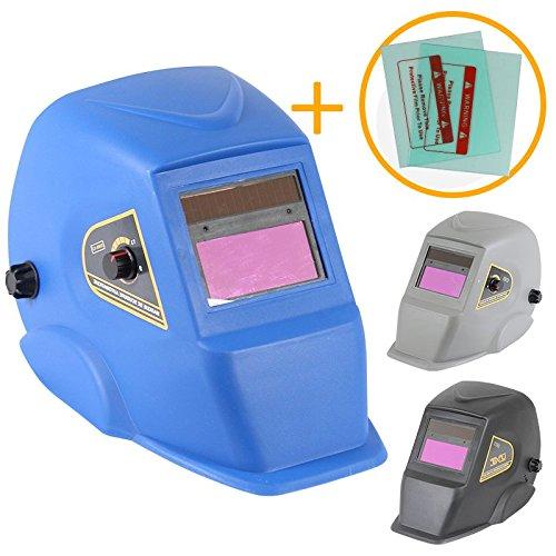 Linxor ® Automatik-Schweißhelm DIN 9 bis 13 + 2 Ersatz-Schutzscheiben – drei Farben – Normen EN379 und EN175