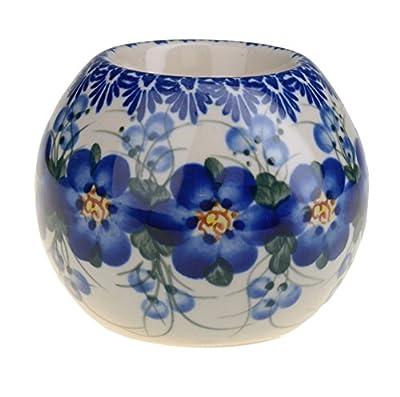 Classic Boleslawiec, Polish Pottery, Hand Painted Ceramic Ball, Tea Lite Candle Holder 502-U-003 by BCV Boleslawiec Pottery