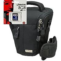 Foto Borsa per fotocamera BLACK STONE PRO cavezza XL in Set con 8GB scheda SD per Canon EOS 1200d 700d 100d