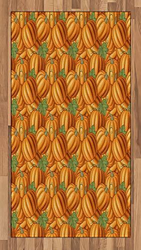 Farbige Ernte (ABAKUHAUS Ernte Teppich, Vibrierende farbige Pumkins, Deko-Teppich Digitaldruck, Färben mit langfristigen Halt, 80 x 150 cm, Orange Grün)