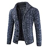 Riou Herren Strickjacke Cardigan Open Jacke Knit Beiläufige Dünne Mantel Sweatshirt Sweatblazer Männer Herbst Winter Zip beiläufige Lange Hülsen-dünne Strickjacke Jacken Mantel (3XL, Marine)