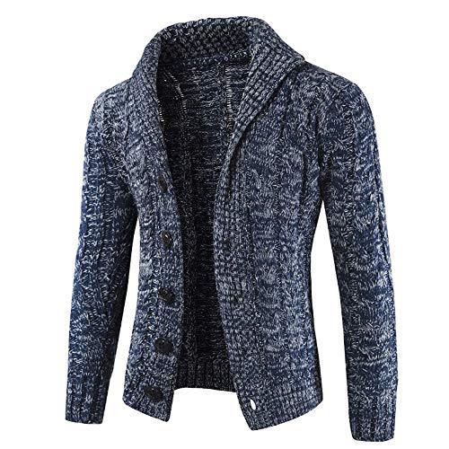 Riou Herren Strickjacke Cardigan Open Jacke Knit Beiläufige Dünne Mantel Sweatshirt Sweatblazer Männer Herbst Winter Zip beiläufige Lange Hülsen-dünne Strickjacke Jacken Mantel (M, Marine)