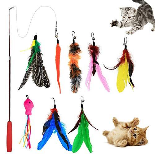 TankMR Teleskoprute für Haustiere, 9 Stück, mit Glocke, Federn, Stretch, interaktives Spielzeug, tolles Geschenk für Katze