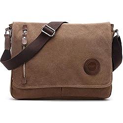 Umhängetasche Herren Arbeitstaschen für Herren Damen Schultasche Messenger Bag Laptoptasche für Arbeit Büro 14'' Laptop Uni Reise (Braun)