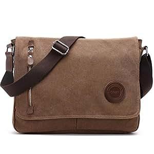 Umhängetasche Herren Arbeitstaschen für Herren Damen Schultasche Messenger Bag Laptoptasche für Arbeit Büro 13.3'' Laptop iPad Uni Reise (Braun)