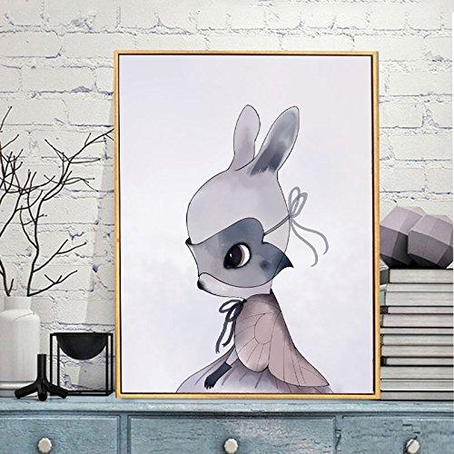 Raybre Art Tragen eines Umhangs tragen Schutzbrille Kaninchen Moderne Tier Abstract Print Malerei Bild Wand auf Leinwand Wandkunst für Schlafzimmer Home Decorations Ungerahmt (Tier-schutzbrillen)
