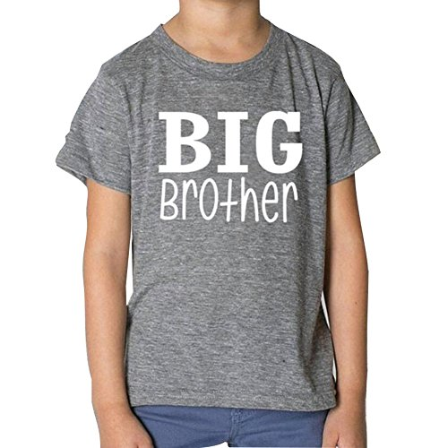 Match Shirt Herren (Juleya Bruder Passende Kleidung Big Brother Little Brother Gedrucktes Baumwollbaby-Match-T-Shirt Grey L/4-6T)