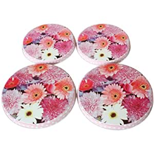 4 Hob Covers in Floral Design With Pink Polka Dot Edge