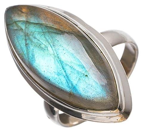 Stargems (TM) Naturel de qualité supérieure Blue Fire labradorite faite à la main Boho Bague en argent sterling 925, taille N 1/2