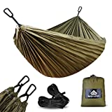 NatureFun Ultra-Light Travel Camping Hammock | 300kg Load Capacity,(275x 140 cm) Breathable,Quick-drying Parachute Nylon | 2 x Premium Carabiners,2 x Nylon Slings Included | For Outdoor Indoor Garten