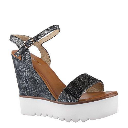 Ideal Shoes Sandales Compensées Effet Pailleté et Décorées de Strass Danae Noir