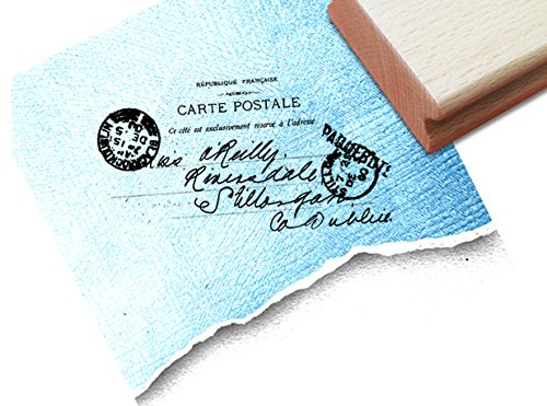 Stempel - Vintage Poststempel CARTE POSTALE II mit alter französischer Handschrift - Eleganter Textstempel für Ihr eigenes Design im Shabby chic style - Bildstempel von zAcheR-fineT