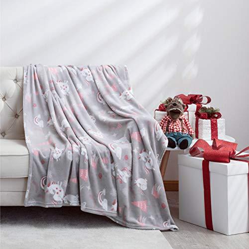 Bedsure Plaid Couverture Polaire avec Motif de Licorne 200x150cm Gris et Rose - Couverture de Lit Douce et Chaude Plaid Jeté de Canapé Flanelle