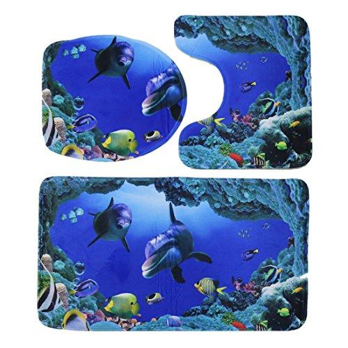 sourcingmap® 3 in 1 Haushalt Bad Deckel WC Sitzbezug Bad Teppich Matte Teppich Set Blau