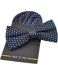 PenSee Silk Hot Dot pour homme comprenant 1 noeud Papillon prénoué & Hanky de cartes Différentes couleurs