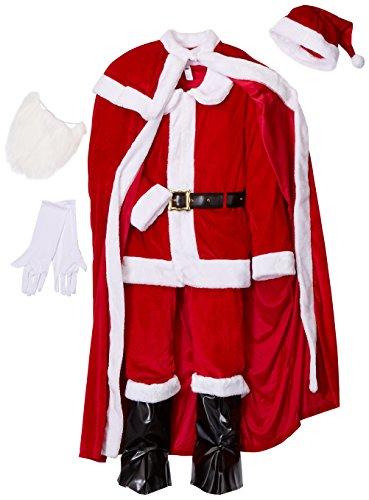 e Weihnachtsmann Kostüm, Hose, Jacke, Umhang, Gürtel, Stiefel Überzieher, Handschuhe, Bart und Hut, Größe: L, 43124 (Weihnachtsmann Kostüm)