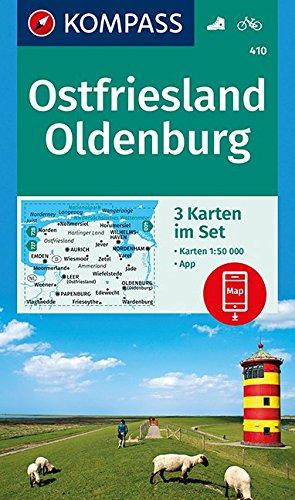 Ostfriesland, Oldenburg: 3 Wanderkarten 1:50000 im Set inklusive Karte zur offline Verwendung in der KOMPASS-App. Fahrradfahren. (KOMPASS-Wanderkarten, Band 410)