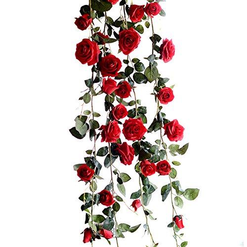 Butterme 1PCS 6 FT gefälschte Rosen Rebe Blumen Anlagen künstliche Blumen Haupthotel Büro Hochzeitsfest Garten Fertigkeit Kunst Dekor Rot