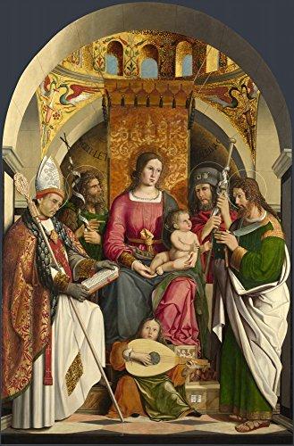 Das Museum Outlet-Marco marzilian-Die Jungfrau und Kind mit Heiligen, gespannte Leinwand Galerie verpackt. 29,7x 41,9cm