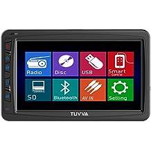 TUVVA KSD7750B reproductor de medios del coche en el tablero de 1 DIN de 7 pulgadas de pantalla táctil motorizada Reproductor DVD / CD / USB / SD / AUX-IN / MP4 / MP3 Recibidor radio RDS Bluetooth Audio Streaming Manos libres Llamadas con control remote