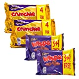 Cadbury sélection de chocolat | 8 x Cadbury Crunchie et 8 x Cadbury Wispa | 16 barres de chocolat
