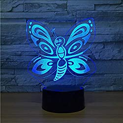 Hysxm Neue Schmetterling 3D Led Nachtlampe Sieben Farben Touch Control Led Visuelle Geschenk Kinder Lichter Lampen Usb Led Lampe Hausgarten Dekor Lampe