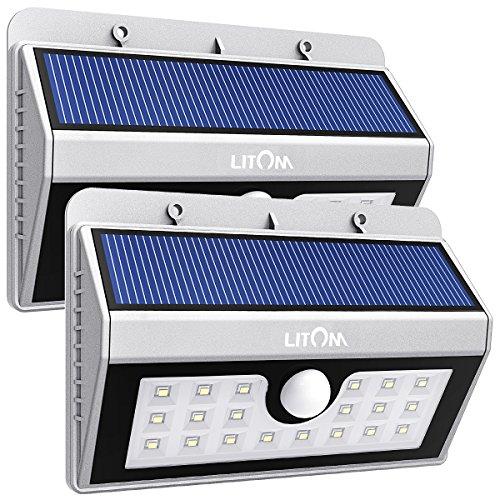 Litom Solarleuchten, Solar Wandleuchte,Solar Außenleuchte 20 helle LED drahtlose mit Bewegungsmelder für Garten, Zaun, Deko, Garage, Terrasse usw. Silber 2 Stück