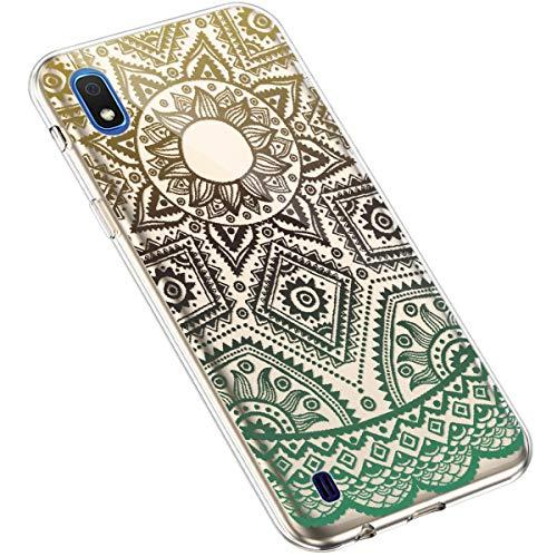 Uposao Kompatibel mit Samsung Galaxy A10 Silikon Handyhülle Durchsichtig TPU Schutzhülle Transparent Blumen Muster Etui Ultra Dünn Weiche Crystal Clear Tasche Case,Tattoo Blumen