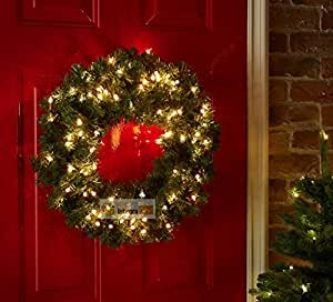 Luxury Pre Lit Christmas Wreath Led Light Amazon Co Uk