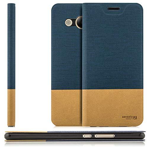 zanasta Tasche kompatibel mit Huawei Y3 2017 (LUA-L21) mit Kartenfach Hülle Flip Case Slim Schutzhülle Handytasche, Standfunktion | Blau