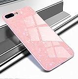 Yobby Glas Hülle für iPhone 7 Plus, iPhone 8 Plus Rosa Handyhülle mit Luxus Kristall Funkeln Glitzer Muster Schlank Weich TPU Bumper Schutzhülle Reflektierend Glänzend Spiegel Rückseite