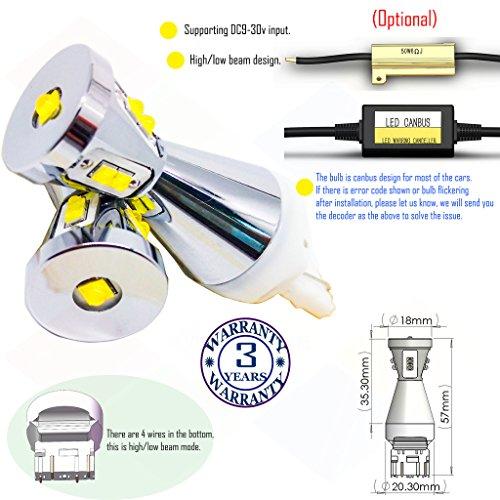 Preisvergleich Produktbild Wiseshine 7443 w21 5w t20 w3x16q 3000k autolampe led auto bulb DC9-30v 3 Jahre Qualitätssicherung (Satz von 2) 7443 9 led hohe Leistung warmes Weiß