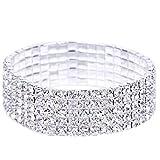 Clearance. Bracelet, Fitfulvan 2018élastique extensible femmes filles 5rangées Strass Cristal Bracelet Bijoux Bracelet As Show blanc
