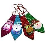 FY 4pcs Unisex Erwachsene Kinder Leuchtendes Fliege Krawatte Weihnachtsmann Schneemann Elch Dreidimensionale Muster Weihnachtsdekoration Weihnachten Deko Geschenk Verkleiden Foto Requisiten
