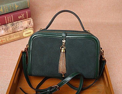 Femmina in pelle borsa in pelle vintage double-sided borsetta/Willow chiodo singolo obliqui di spallamento trasversale quadrato piccolo sacchetto,marrone Verde