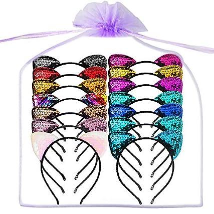 14 Pezzi Orecchie Di Gatto Fascia Glitter Paillettes Carino Hairband Accessori Per Capelli Lucenti Cerchi Per Capelli Per Le Ragazze Le Donne Indossano Il Giorno e La Decorazione Del Partito