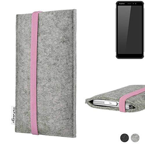 flat.design Handy Hülle Coimbra für Ruggear RG850 handgefertigte Handytasche Filz Tasche Case rosa hellgrau