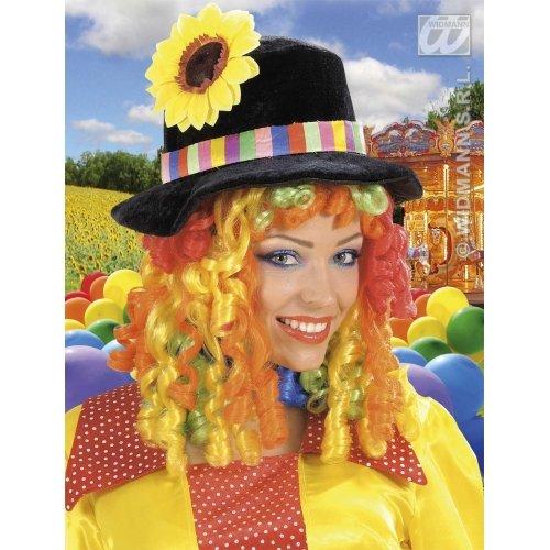 Widmann Clownhut mit Blumen und gelocktem Haar, Schwarz