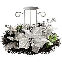 WeRChristmas 22 cm juego de centro de mesa con portavelas sencillo de árbol de Navidad, negro/plateado