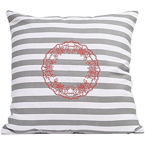 Cojines de cojin decorativos para almohadas de almohada para sofa 18 x 18 Juego de 2 cofres 100% algodon diseno rayado accesorios de ropa de cama