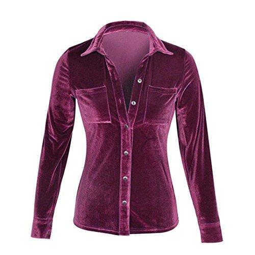 àbbigliamento donna, ASHOP Camicia Maniche Lunghe T-Shirt a Manica Lunga Con Collo Alto E Girocollo a Maniche Lunghe In Velluto Solido Porpora