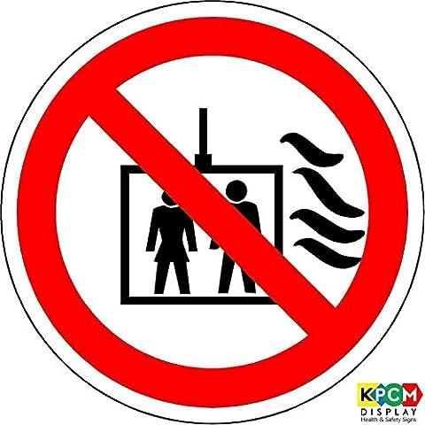 ISO etiqueta de seguridad–señal internacional no utilice ascensor en caso de incendio símbolo–autoadhesivo adhesivo 50mm de diámetro