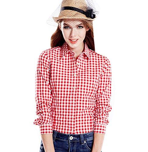 ACVIP Chemise Carreaux Casuel Slim Col Classique Simple Manche Longue Shirt Blouse de Coton pour Femme, 6 Couleurs Rouge