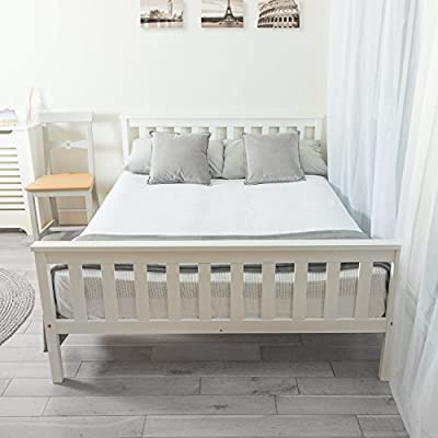 Home Treats Double Bed In White 4'6ft Solid Wooden Frame Perfect For Adults Kids Teenagers - low-cost UK light shop.
