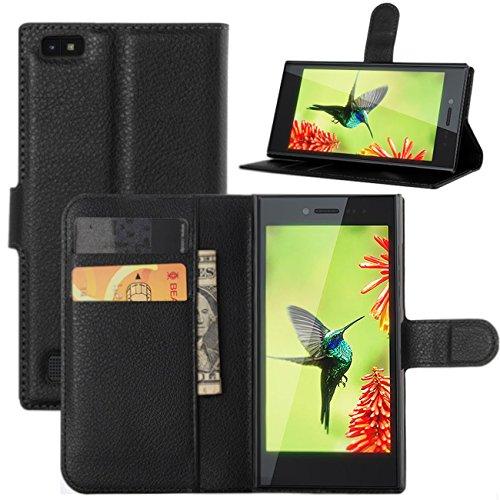 Blackberry Leap Hülle, HualuBro Premium PU Leder Leather Wallet HandyHülle Tasche Schutzhülle Flip Case Cover mit Karten Slot für Blackberry Leap Smartphone - schwarz