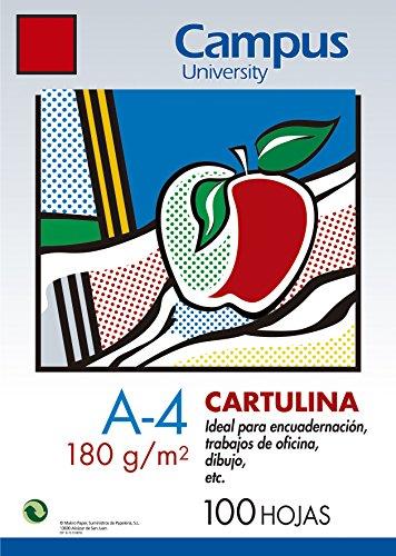 100x Karton Campus A4180g/m² Basteln Zeichnung Farbe Tomate